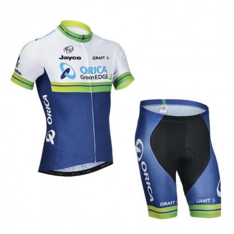 Ensemble cuissard vélo sans bretelles et maillot cyclisme équipe pro Orica GreenEdge