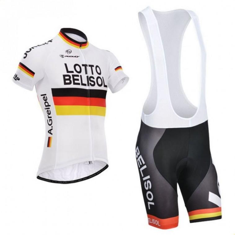 Ensemble cuissard vélo et maillot cyclisme équipe pro Lotto Belisol