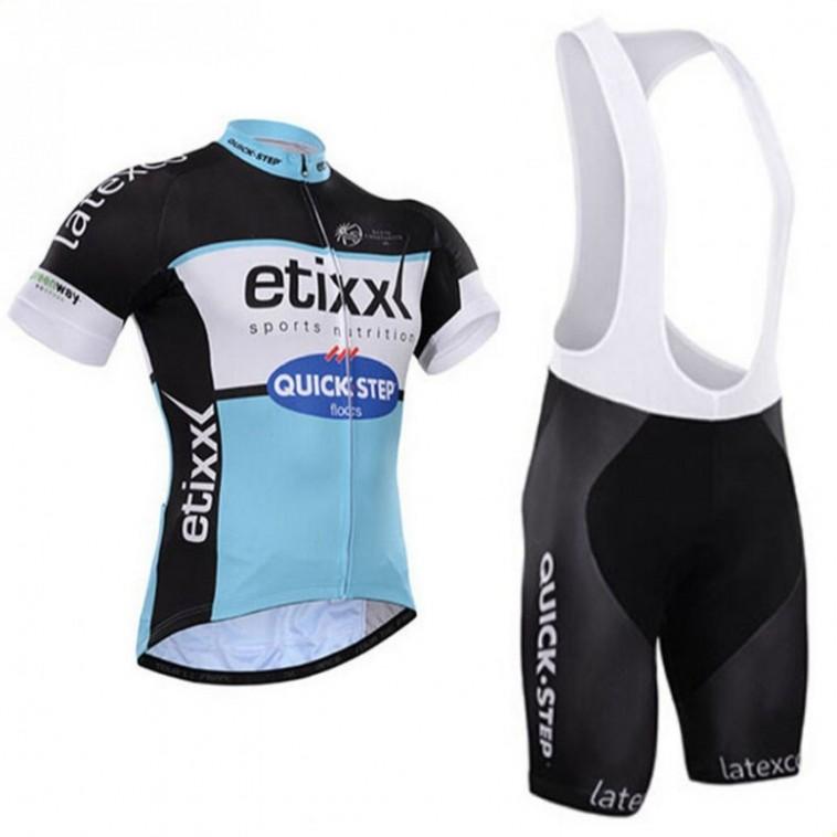 Ensemble cuissard vélo et maillot cyclisme équipe pro Etixx Quick Step bleu
