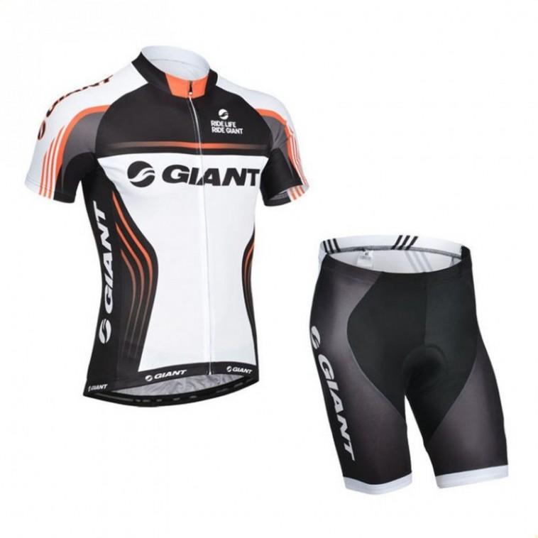 Ensemble cuissard vélo sans bretelles et maillot cyclisme équipe pro Giant