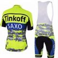 Ensemble cuissard vélo et maillot cyclisme équipe pro Tinkoff Saxo Fluo