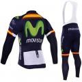 Ensemble cuissard vélo et maillot cyclisme hiver équipe pro Movistar