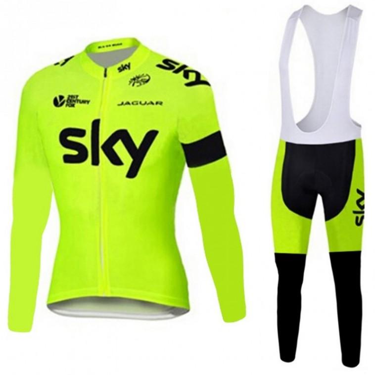 Ensemble cuissard vélo et maillot cyclisme hiver équipe pro SKY fluo