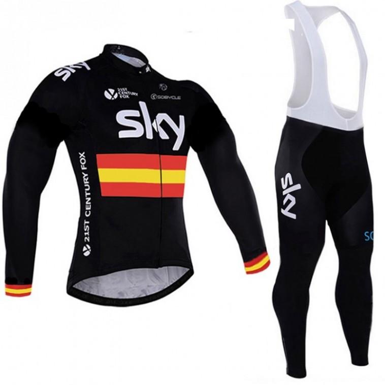 Ensemble cuissard vélo et maillot cyclisme hiver équipe pro SKY