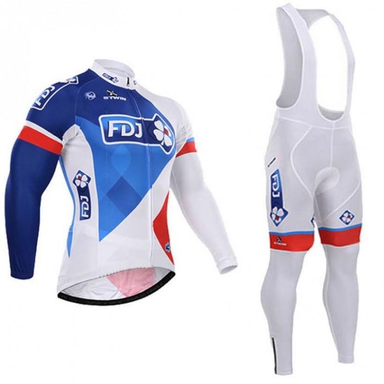 Ensemble cuissard vélo et maillot cyclisme hiver équipe pro FDJ