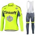 Ensemble cuissard vélo et maillot cyclisme hiver équipe pro Tinkoff fluo