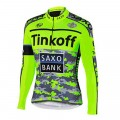 Ensemble cuissard vélo et maillot cyclisme hiver équipe pro Tinkoff Saxo fluo