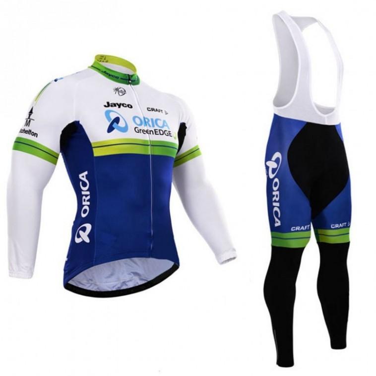 Ensemble cuissard vélo et maillot cyclisme hiver équipe pro Orica GreenEdge