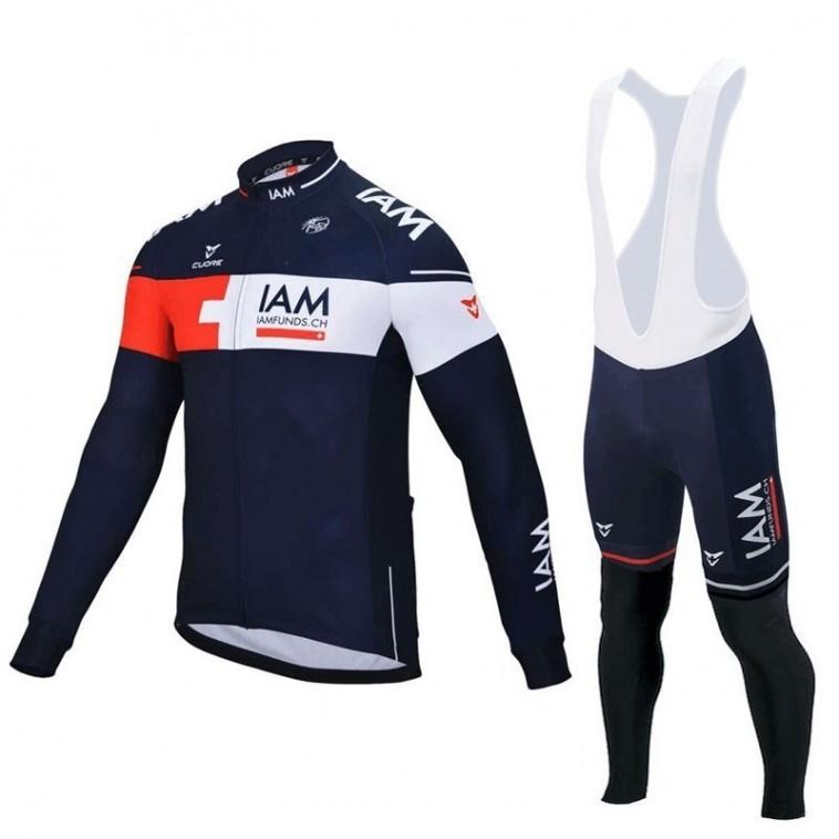 Ensemble cuissard vélo et maillot cyclisme hiver équipe pro IAM