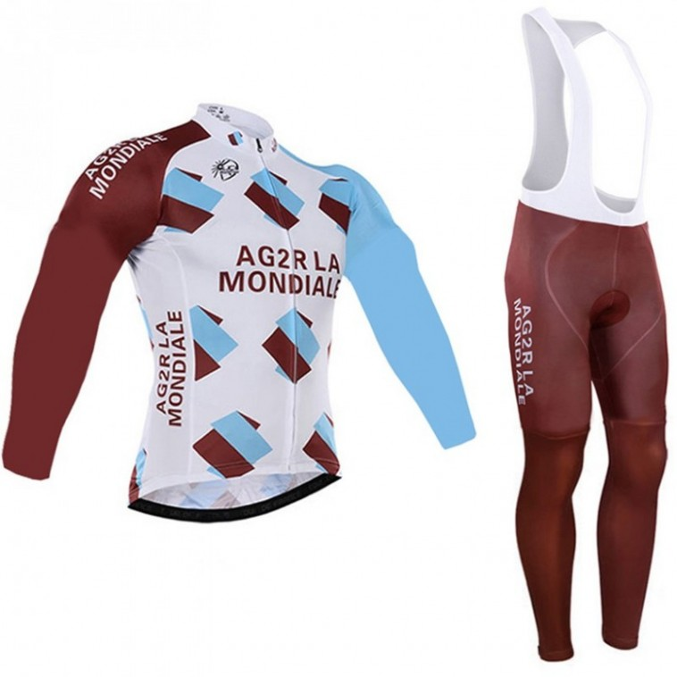 Ensemble cuissard vélo et maillot cyclisme hiver équipe pro AG2R La Mondiale 2016