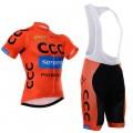 Ensemble cuissard vélo et maillot cyclisme équipe pro CCC Sprandi Polkowice