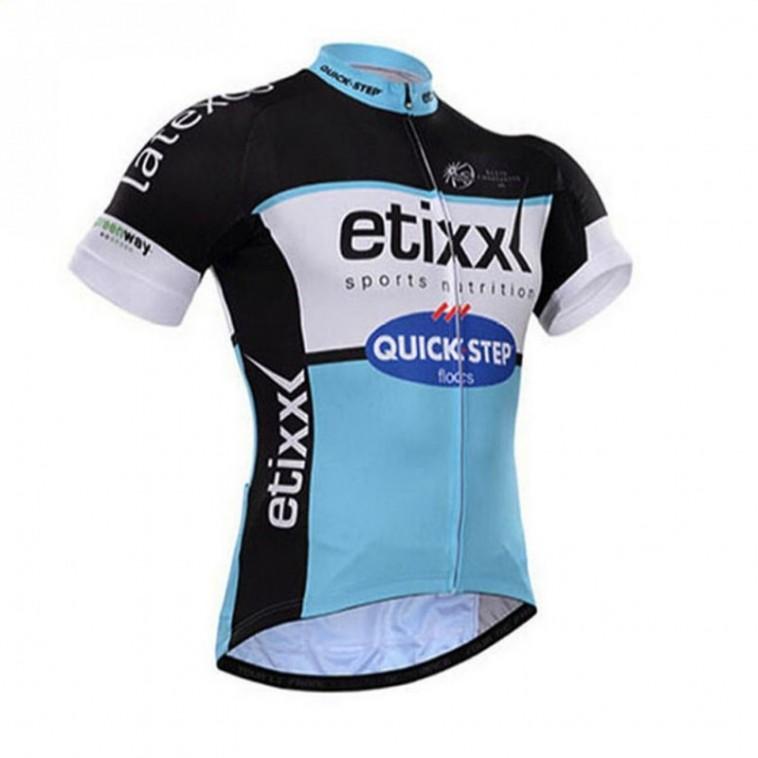 Maillot vélo équipe pro Etixx Quic Step manches courtes bleu