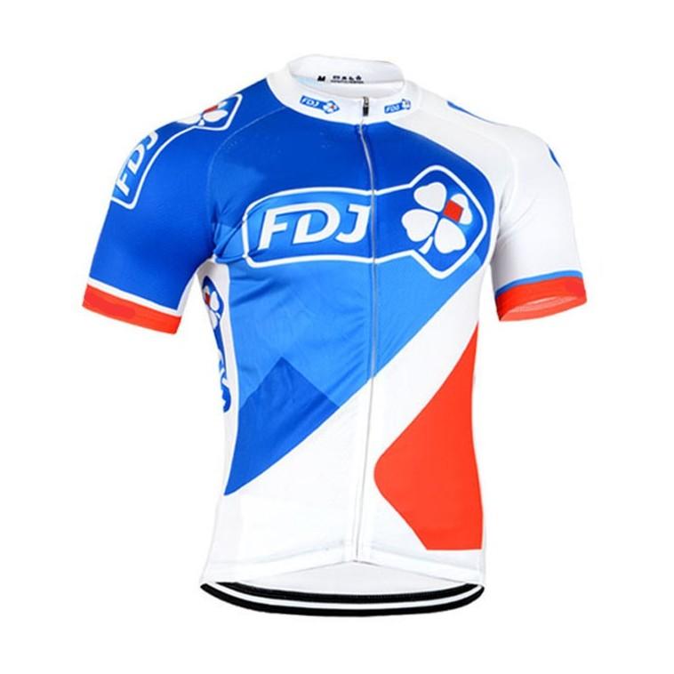 Maillot vélo équipe pro FDJ La Française des Jeux 2017 manches courtes