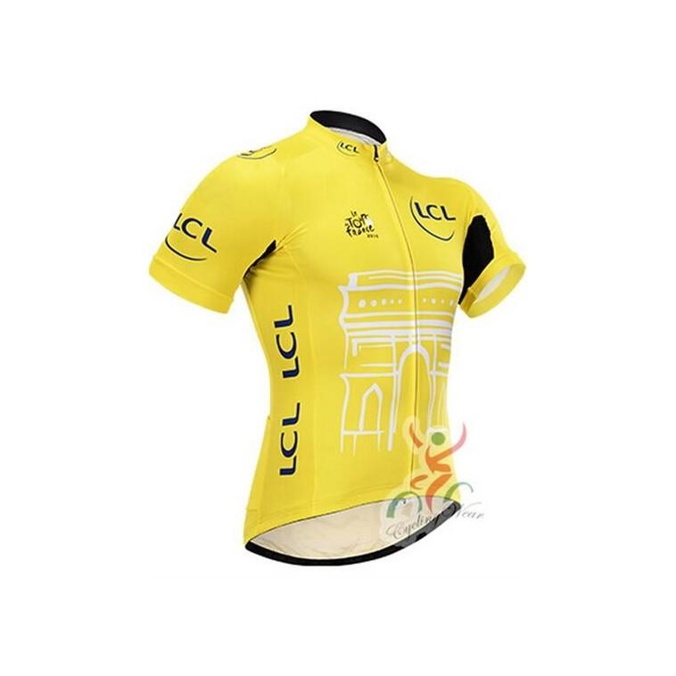 Maillot vélo Tour de France jaune pois vert blanc