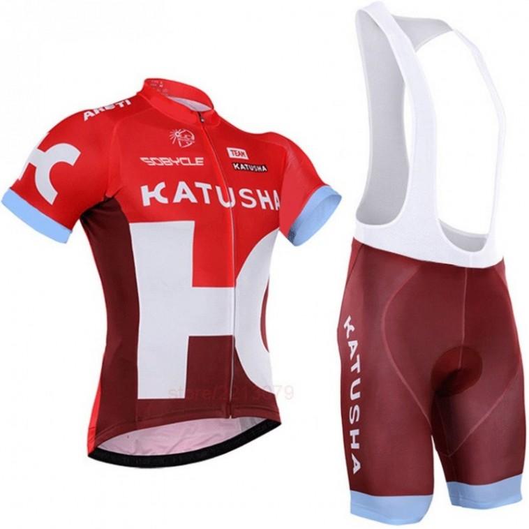 Ensemble cuissard vélo et maillot cyclisme équipe pro Katusha