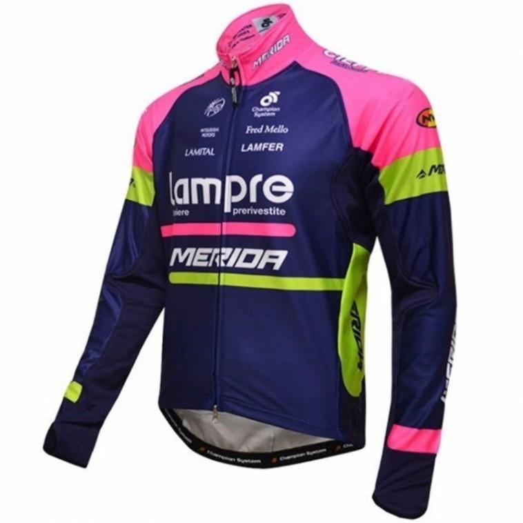 Maillot vélo équipe pro Lampre Merida manches longues hiver polaire thermique