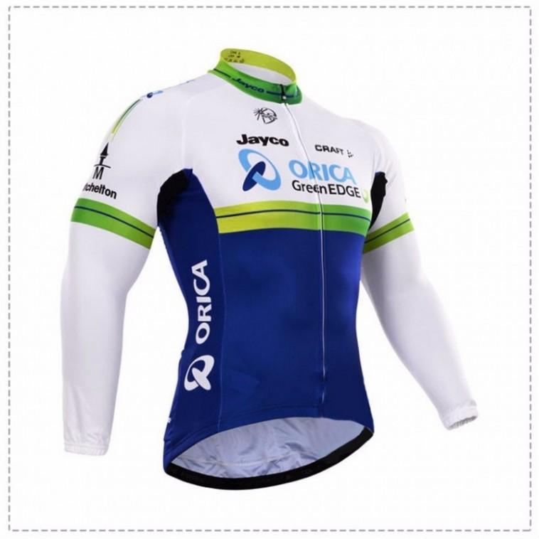 Maillot vélo équipe pro Orica greenEdge manches longues hiver polaire thermique