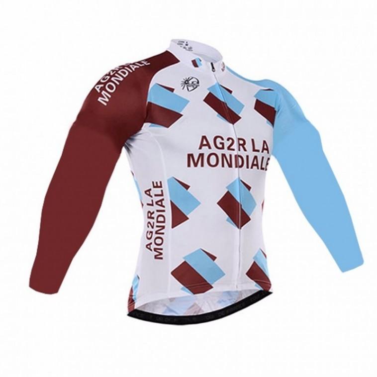 Maillot vélo équipe pro AG2R La Mondiale manches longues hiver polaire thermique