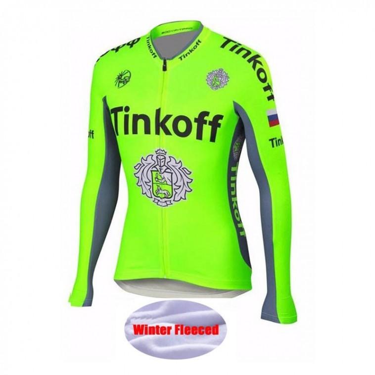 Maillot vélo équipe pro Tinkoff fluo manches longues hiver polaire thermique
