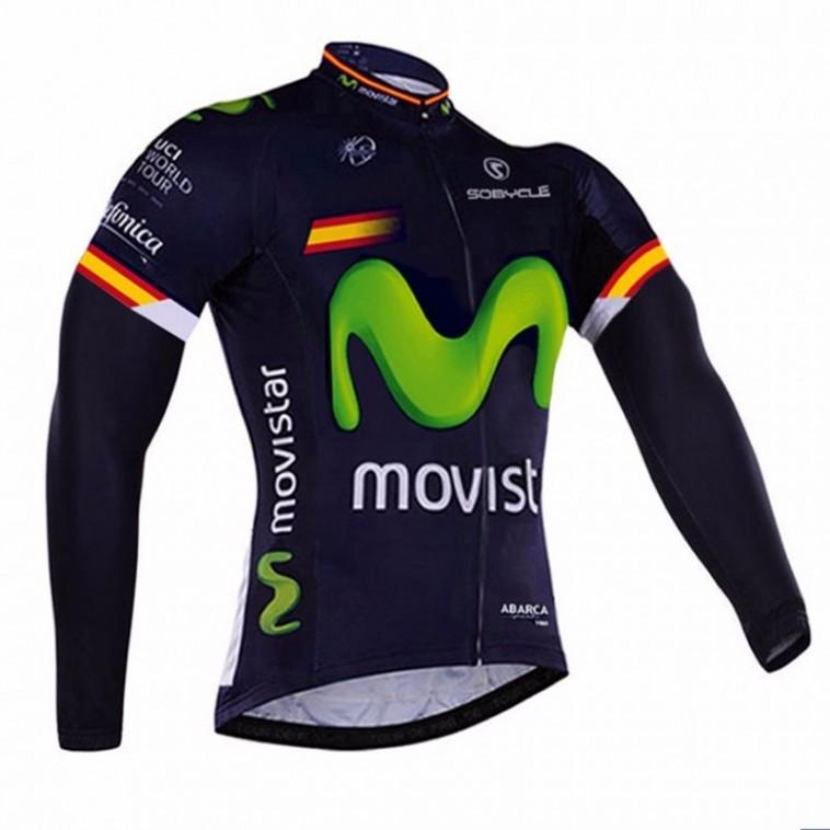 Maillot vélo équipe pro Movistar manches longues hiver polaire thermique