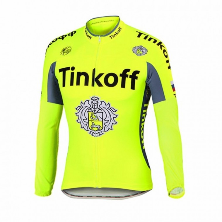 Maillot vélo équipe pro Tinkoff fluo manches longues hiver polaire thermique