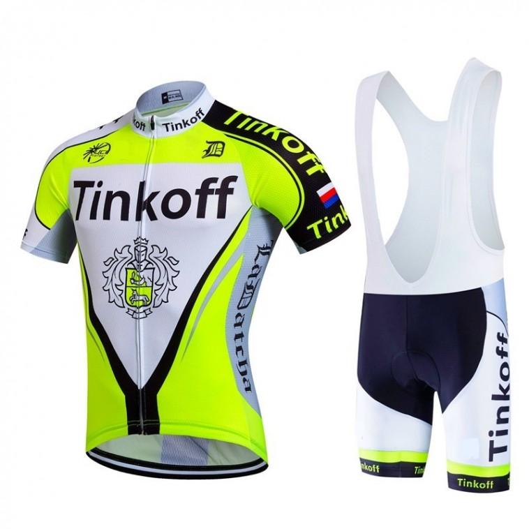 Ensemble cuissard vélo et maillot cyclisme équipe pro Tinkoff