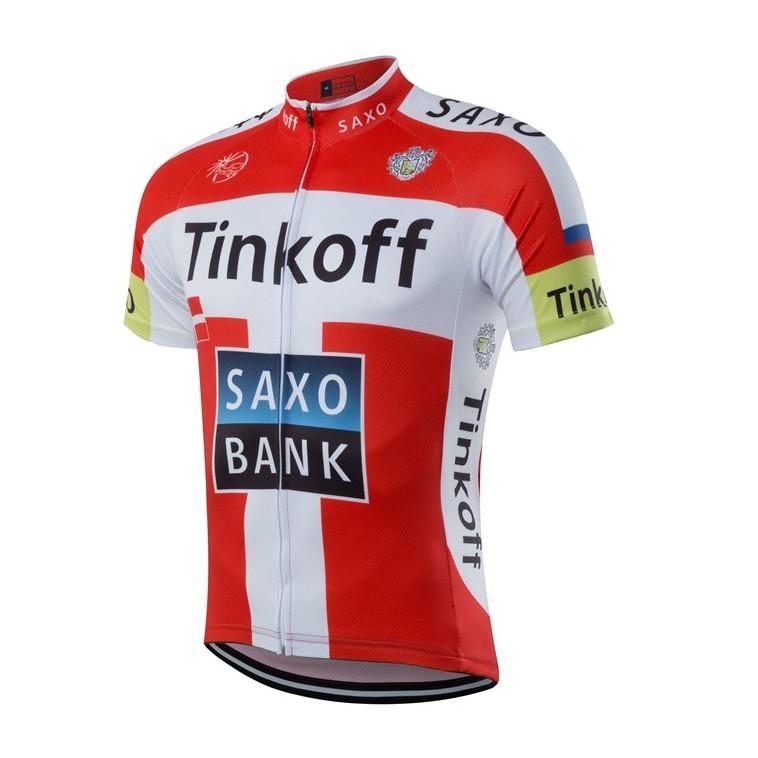 Maillot vélo équipe pro Tinkoff Saxo manches courtes