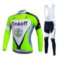 Ensemble cuissard vélo et maillot cyclisme hiver équipe pro Tinkoff
