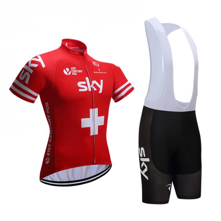 Ensemble cuissard vélo et maillot cyclisme équipe pro SKY Suisse