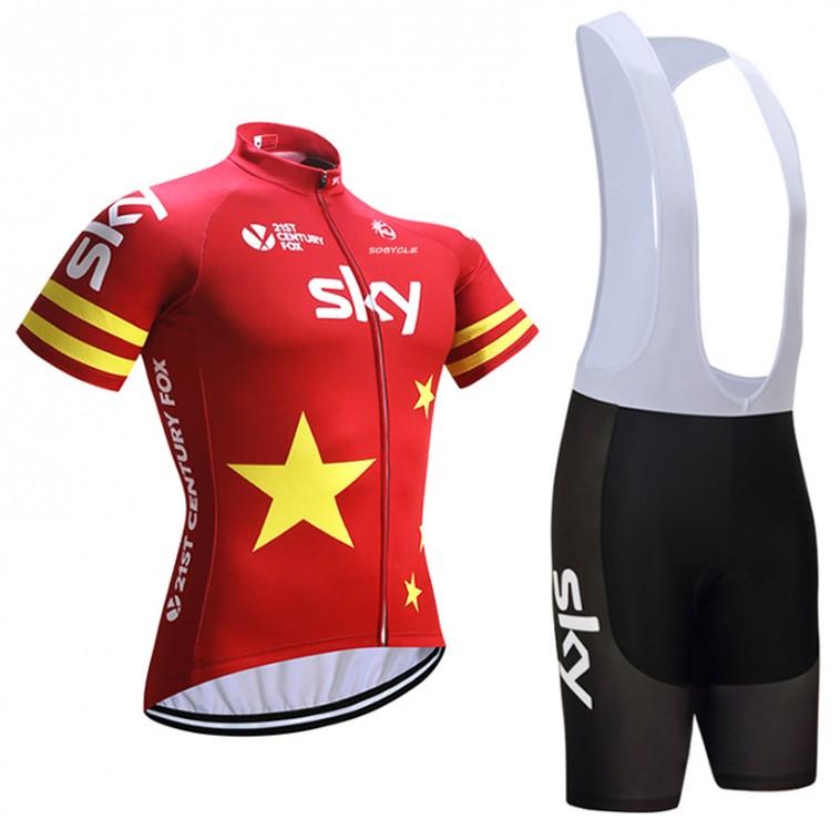 Ensemble cuissard vélo et maillot cyclisme équipe pro SKY Stars