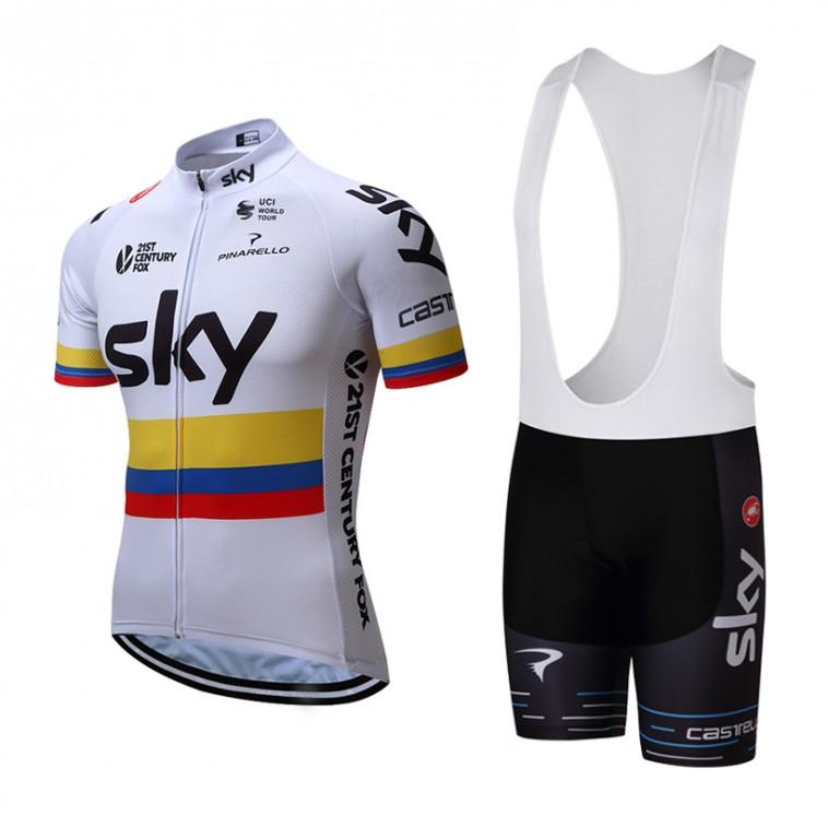 Ensemble cuissard vélo et maillot cyclisme équipe pro SKY Colombie
