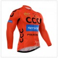 Ensemble cuissard vélo et maillot cyclisme hiver équipe pro CCC Sprandi Polkowice