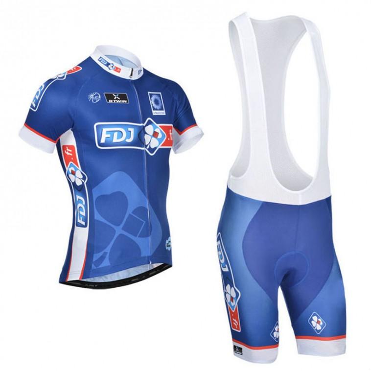 Ensemble cuissard vélo et maillot cyclisme équipe pro FDJ bleu