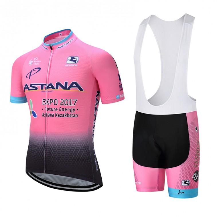 "Ensemble cuissard vélo et maillot cyclisme équipe pro Astana ""pink edition"""