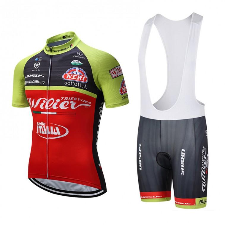 Ensemble cuissard vélo et maillot cyclisme équipe pro Wilier Selle Italia 2017