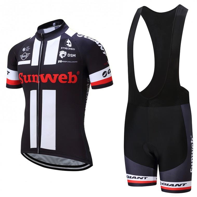 Ensemble cuissard vélo et maillot cyclisme équipe pro Sunweb Giant noir 2017