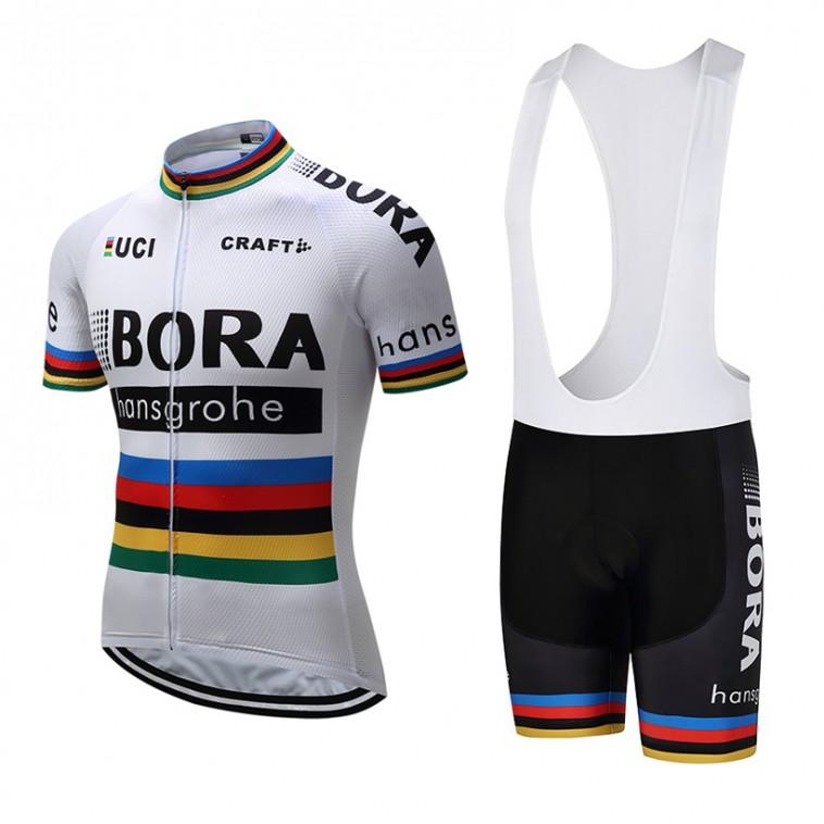 Ensemble cuissard vélo et maillot cyclisme équipe pro Bora Hansgrohe Craft blanc