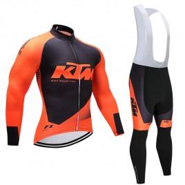 Ensemble cuissard vélo et maillot cyclisme hiver équipe pro KTM