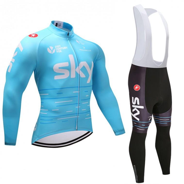 Ensemble cuissard vélo et maillot cyclisme hiver équipe pro SKY 2017 bleu