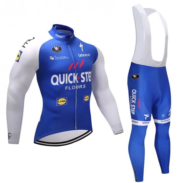 Ensemble cuissard vélo et maillot cyclisme hiver équipe pro Quick Step Floors