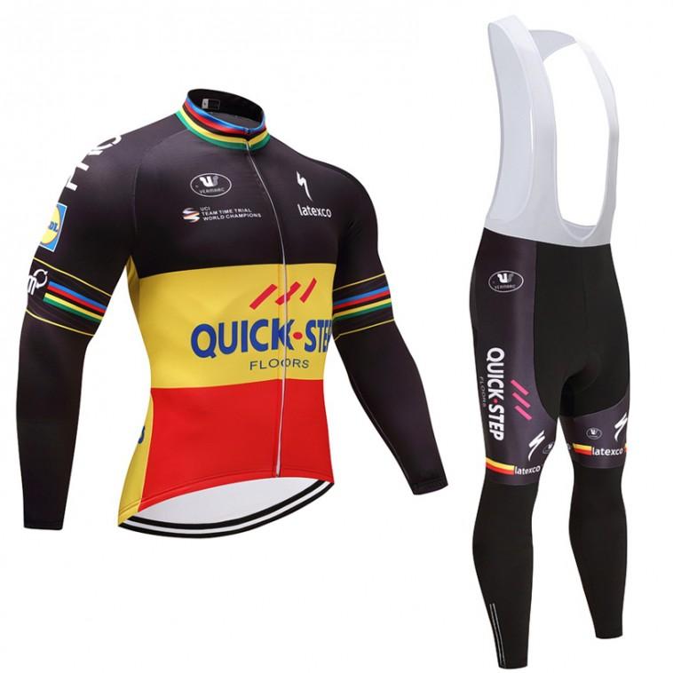 Ensemble cuissard vélo et maillot cyclisme hiver équipe pro Quick-Step 2017
