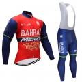 Ensemble cuissard vélo et maillot cyclisme hiver équipe pro Bahrain Merida