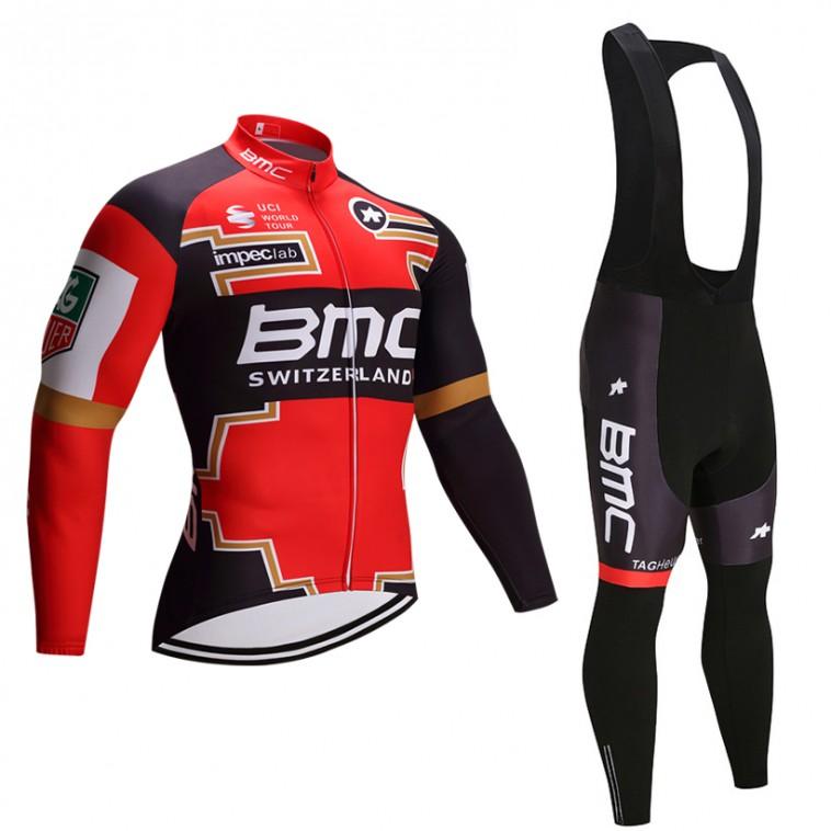 Ensemble cuissard vélo et maillot cyclisme hiver équipe pro BMC 2017 gold edition