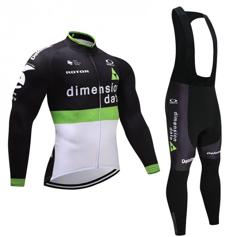 Ensemble cuissard vélo et maillot cyclisme hiver équipe pro Dimension Data