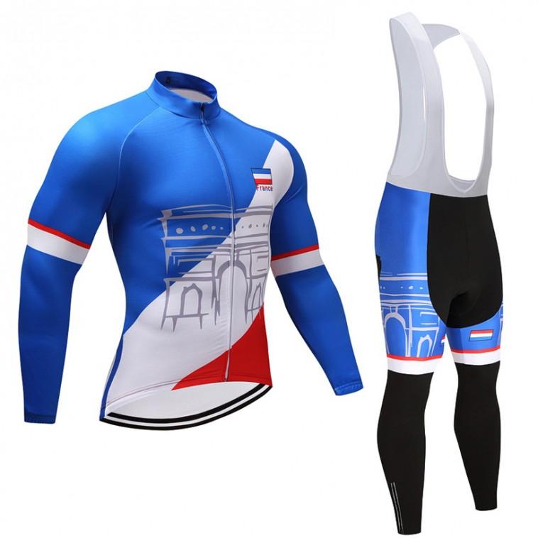 Ensemble cuissard vélo et maillot cyclisme hiver pro FRANCE