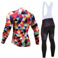 Ensemble cuissard vélo et maillot cyclisme hiver pro multicolore