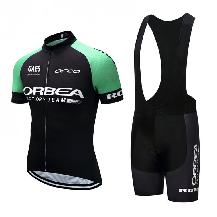 Ensemble cuissard vélo et maillot cyclisme pro Orbea Orca vert