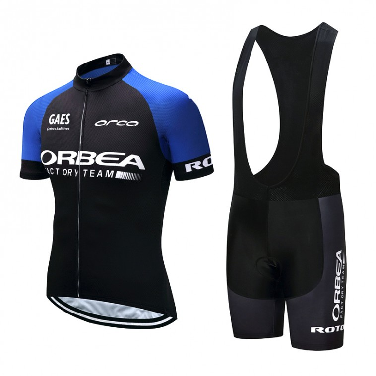 Ensemble cuissard vélo et maillot cyclisme pro Orbea Orca bleu