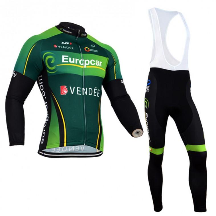 Ensemble cuissard vélo et maillot cyclisme hiver équipe pro Europcar Vendée