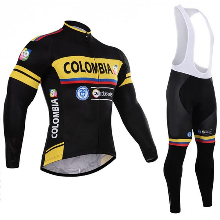 Ensemble cuissard vélo et maillot cyclisme hiver équipe pro Colombia